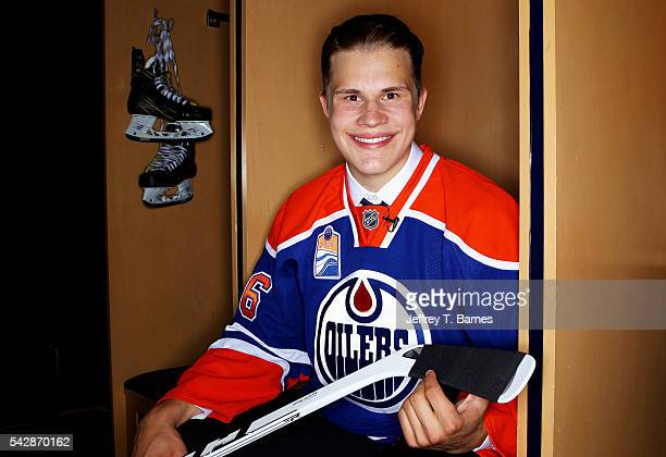 Jesse Puljujarvi poses for a portrait after being selected fourth overall by the Edmonton Oilers in round one during the 2016 NHL Draft on June 24...