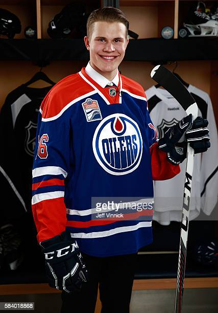 Jesse Puljujarvi selected fourth overall by the Edmonton Oilers poses for a portrait during round one of the 2016 NHL Draft at First Niagara Center...