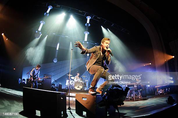 Jesse Quin Richard Hughes Tom Chaplin and Tim RiceOxley of Keane perform on stage on Day 2 of their London show at Brixton Academy on June 9 2012 in...
