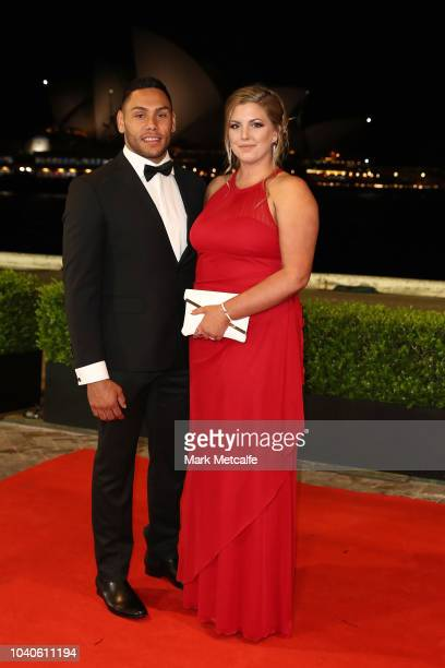 Jesse Ramien and his partner Taylah Veacock arrive at the 2018 Dally M Awards at Overseas Passenger Terminal on September 26 2018 in Sydney Australia