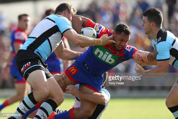 Jesse Ramien of the Newcastle Knights is tackled during the NRL Trial match between the Cronulla Sharks and the Newcastle Knights on March 02, 2019...