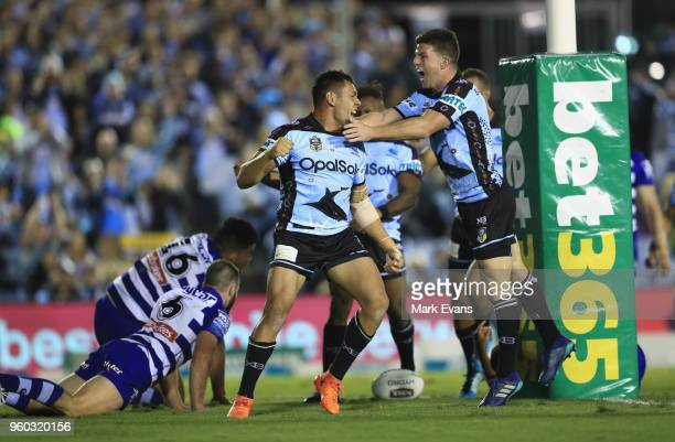 Jesse Ramien of the Sharks celebrates a try during the round 11 NRL match between the Cronulla Sharks and the Canterbury Bulldogs at Southern Cross...