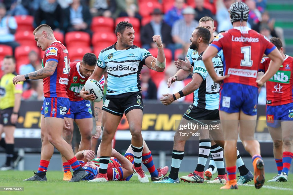 Jesse Ramien of the Sharks celebrates a try during the round 12 NRL match between the Newcastle Knights and the Cronulla Sharks at McDonald Jones Stadium on May 27, 2018 in Newcastle, Australia.