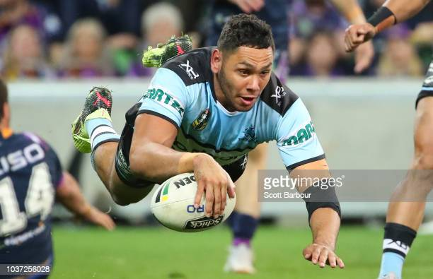 Jesse Ramien of the Sharks dives to score a try which was later disallowed during the NRL Preliminary Final match between the Melbourne Storm and the...