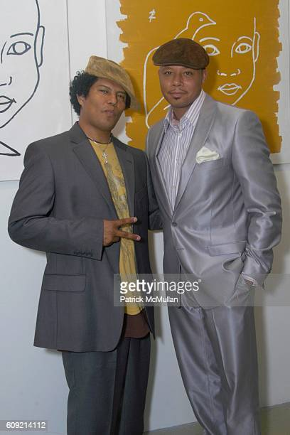 Jesse Raudales and Terrence Howard attend Olympic Artist Jesse Raudales 'Peace for the Children' Art Show' at Los Angeles on February 9 2007