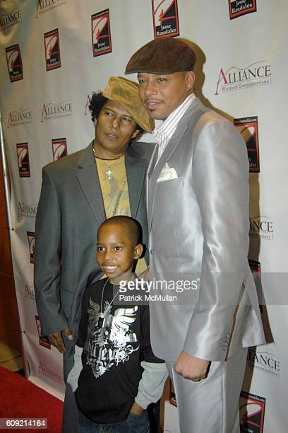 Jesse Raudales Jesse Raudales Jr and Terrence Howard attend Olympic Artist Jesse Raudales Peace for the Children Art Show at Los Angeles on February...