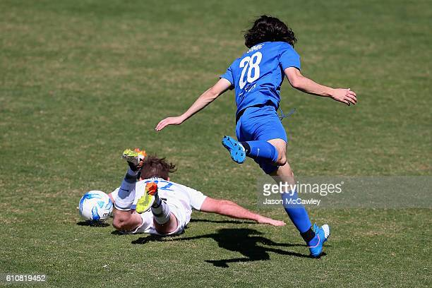 Jesse Rigby is challenged by Stefan Simic during the PS4 Player Pathway Award Camp on September 28 2016 in Sydney Australia