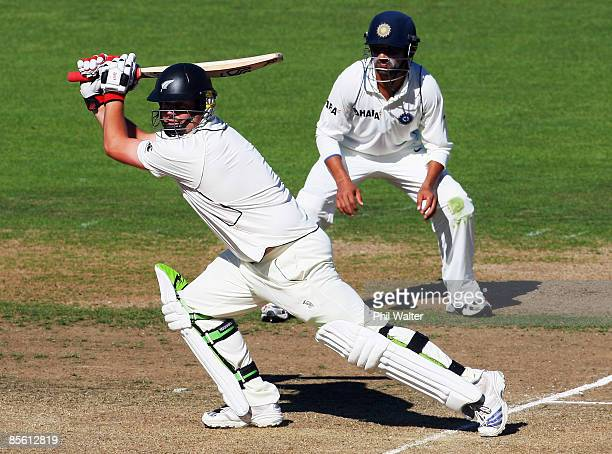 Jesse Ryder of New Zealand bats during day one of the second test match between New Zealand and India at McLean Park on March 26, 2009 in Napier, New...