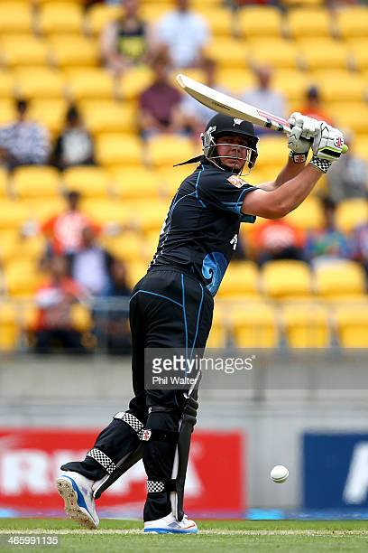 Jesse Ryder of New Zealand bats during Game 5 of the men's one day international between New Zealand and India at Westpac Stadium on January 31 2014...