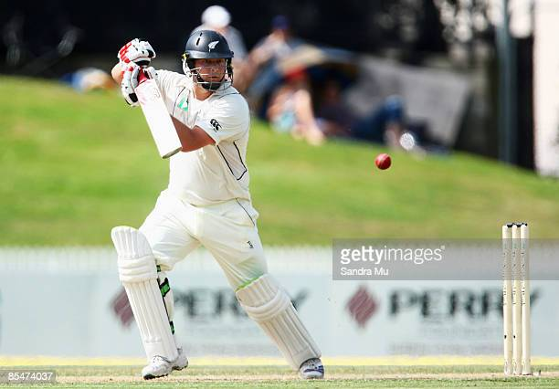 Jesse Ryder of New Zealand in action during day one of the First Test match between New Zealand and India at Seddon Park on March 18 2009 in Hamilton...