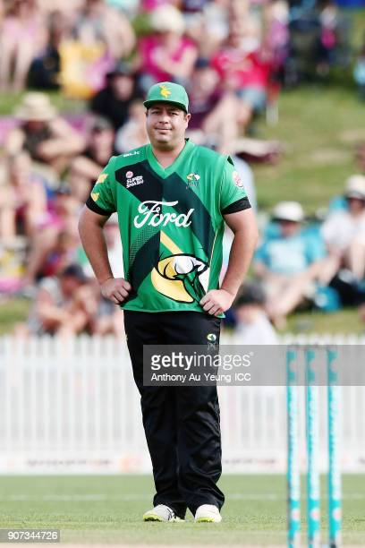 Jesse Ryder of the Stags reacts during the Super Smash Grand Final match between the Knights and the Stags at Seddon Park on January 20 2018 in...