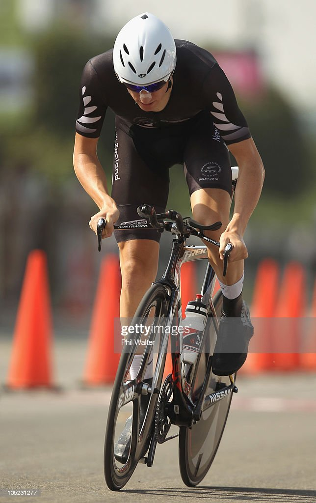 Jesse Sergent of New Zealand competes in the Individual Time Trial during day ten of the Delhi 2010 Commonwealth Games on October 13, 2010 in Delhi, India.