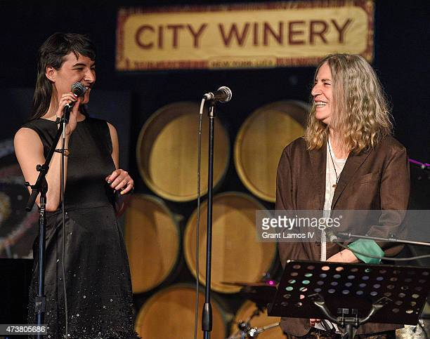 Jesse Smith and Patti Smith on stage at the Everest Awakening A Prayer For Nepal And Beyond at City Winery on May 17 2015 in New York City