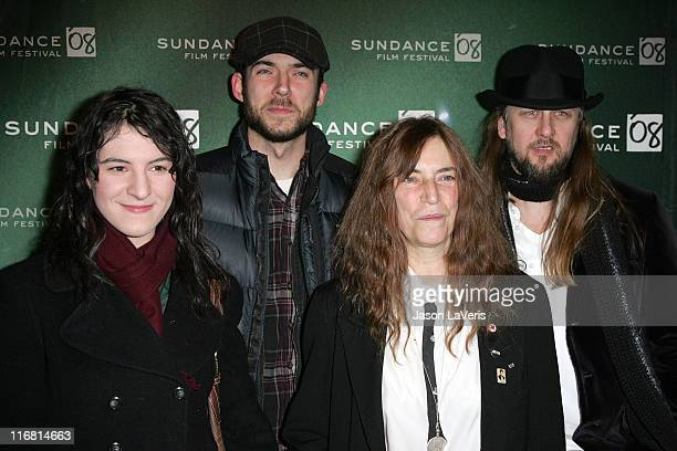 Jesse Smith Jackson Smith Patti Smith and Director Steven Sebring attend a screening of Patti Smith Dream of Life at the Holiday Village Cinema III...