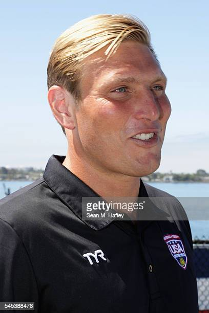 Jesse Smith of Team USA speaks with the media during the USA Men's Olympic Water Polo Team announcement onboard the USS Midway on July 7, 2016 in San...