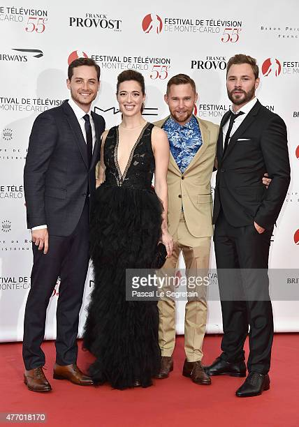 Jesse Soffer Marina Squerciati Brian Geraghty and Patrick Fueger arrive to attend the opening ceremony of the 55th Monte Carlo TV Festival on June 13...