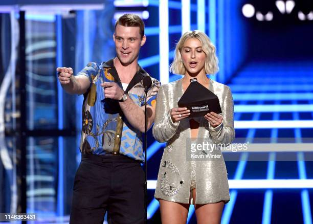 Jesse Spencer and Julianne Hough speak onstage during the 2019 Billboard Music Awards at MGM Grand Garden Arena on May 01 2019 in Las Vegas Nevada