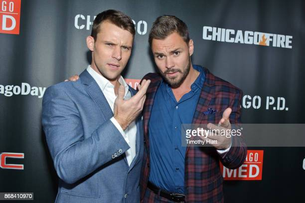 Jesse Spencer and Patrick John Flueger attend the One Chicago party during NBC's 'One Chicago' press day on October 30 2017 in Chicago Illinois