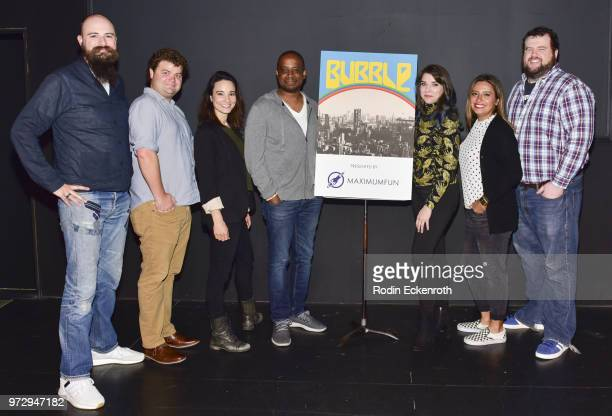 Jesse Thorn Jordan Morris Alison Becker Keith Powell Eliza Skinner Cristela Alonzo and Mike Mitchell pose for portrait at the MaximumFunorg Comedy...