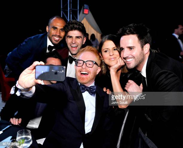 Jesse Tyler Ferguson and guests attend the 26th annual Elton John AIDS Foundation Academy Awards Viewing Party at The City of West Hollywood Park on...