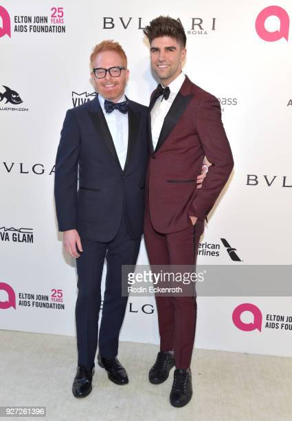 Jesse Tyler Ferguson and Justin Mikita attend the 26th annual Elton John AIDS Foundation's Academy Awards Viewing Party at The City of West Hollywood...