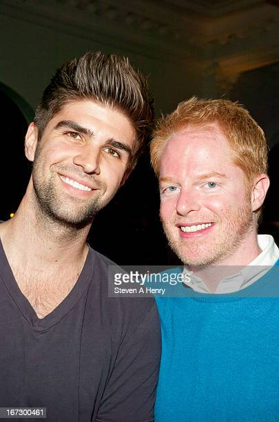 Jesse Tyler Ferguson and Justin Mikita attend the opening night of Here Lies Love at The Public Theater on April 23 2013 in New York City