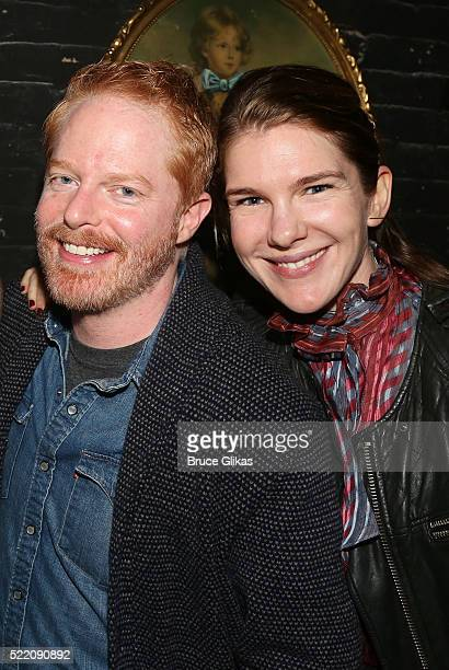 Jesse Tyler Ferguson and Lily Rabe pose backstage at the hit play 'Fully Committed' on Broadway at The Lyceum Theatre on April 17 2017 in New York...