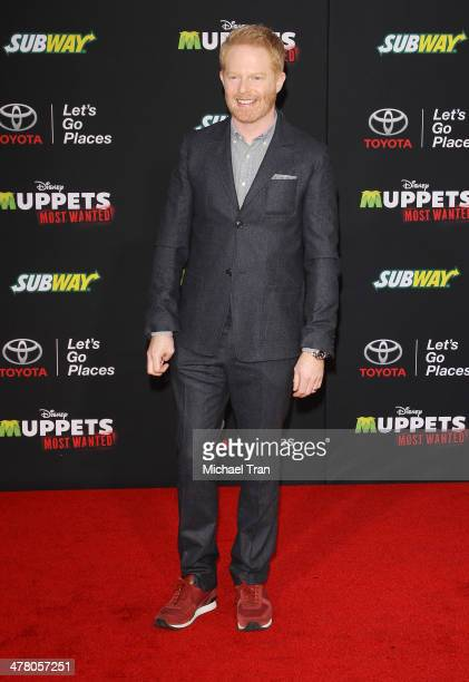 """Jesse Tyler Ferguson arrives at the Los Angeles premiere of """"Muppets Most Wanted"""" held at the El Capitan Theatre on March 11, 2014 in Hollywood,..."""