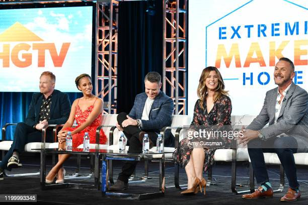 "Jesse Tyler Ferguson, Breegan Jane, Darren Keefe, Carrie Locklyn and Loren Ruch of ""Extreme Makeover: Home Edition"" speak during the HGTV segment of..."