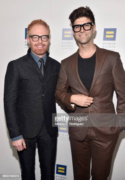 Jesse Tyler Ferguson Justin Mikita attend The Human Rights Campaign 2018 Los Angeles Gala Dinner at JW Marriott Los Angeles at LA LIVE on March 10...