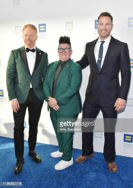 Jesse Tyler Ferguson, Lea DeLaria and Luke Macfarlane attend the Human Rights Campaign 2019 Los Angeles Dinner at JW Marriott Los Angeles at L.A....