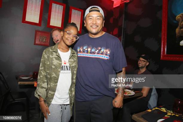 Jesse Tyler Ferguson Marsai Martin Roy Choi and Justin Mikita attend The Flamin Hot Spot Cheetos new limitedtime restaurant with a menu inspired by...