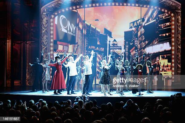 Jesse Tyler Ferguson Neil Patrick Harris Patti LuPone and Amanda Seyfried perform onstage at the 66th Annual Tony Awards at The Beacon Theatre on...