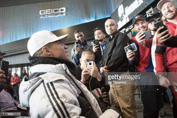Jesse Vargas conducts an interview for his upcoming Welterweight fight against Adrien Broner at Barclays Center on April 20, 2018 in Brooklyn.