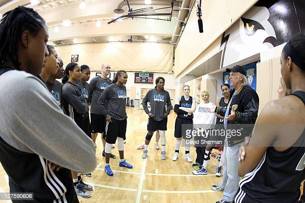 Jesse Ventura former Governor of the State of Minnesota and professional wrestler greets the Minnesota Lynx at team practice during the 2011 WNBA...