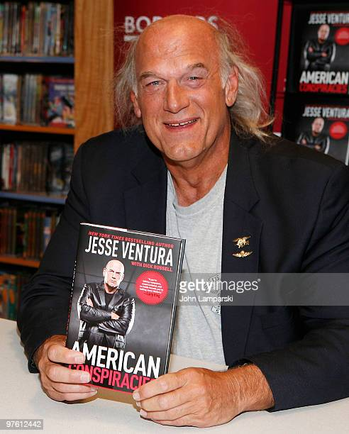 Jesse Ventura promotes his book American Conspiracies at Borders Wall Street on March 10 2010 in New York City