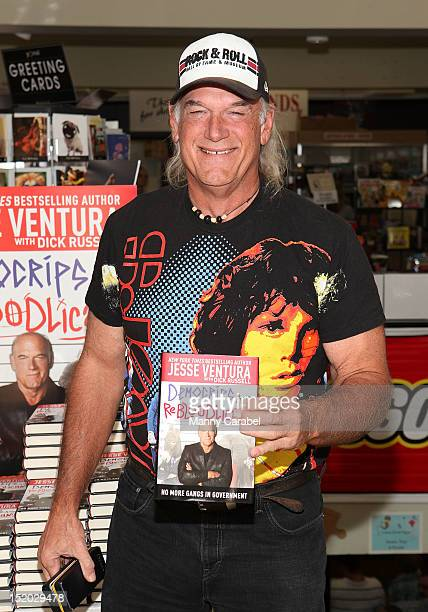 Jesse Ventura seen here at Bookends Bookstore holding his new book DemoCrips and ReBloodLicans on September 15 2012 in Ridgewood New Jersey