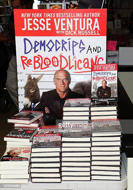 Jesse Ventura's new book DemoCrips and ReBloodLicans on display at Bookends Bookstore on September 15 2012 in Ridgewood New Jersey