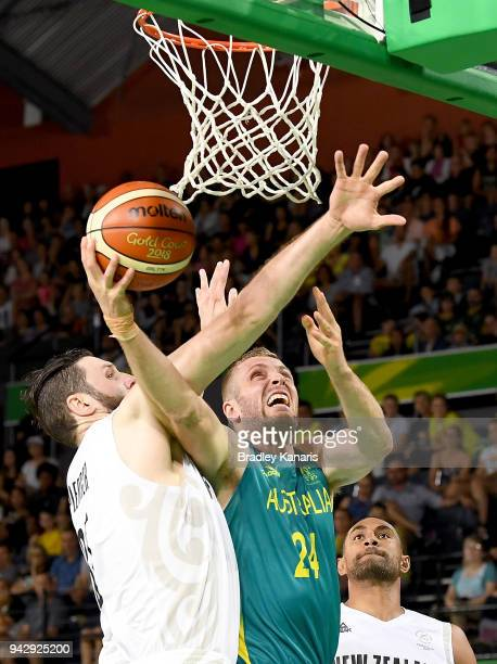Jesse Wagstaff of Australia drives to the basket during the Preliminary Basketball round match between Australia and New Zealand on day three of the...