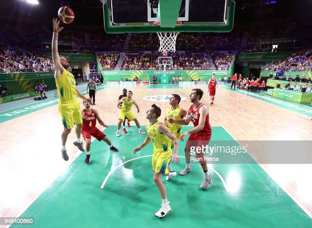 Jesse Wagstaff of Australia shoots during the Men's Gold Medal Basketball Game between Australia and Canada on day 11 of the Gold Coast 2018...