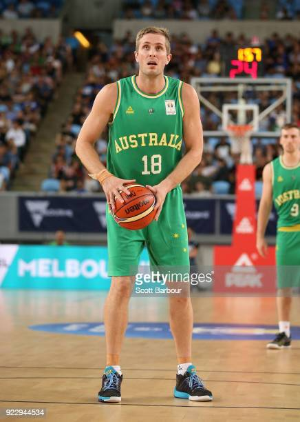 Jesse Wagstaff of the Boomers controls the ball during the FIBA World Cup Qualifier match between the Australian Boomers and the Philippines at...
