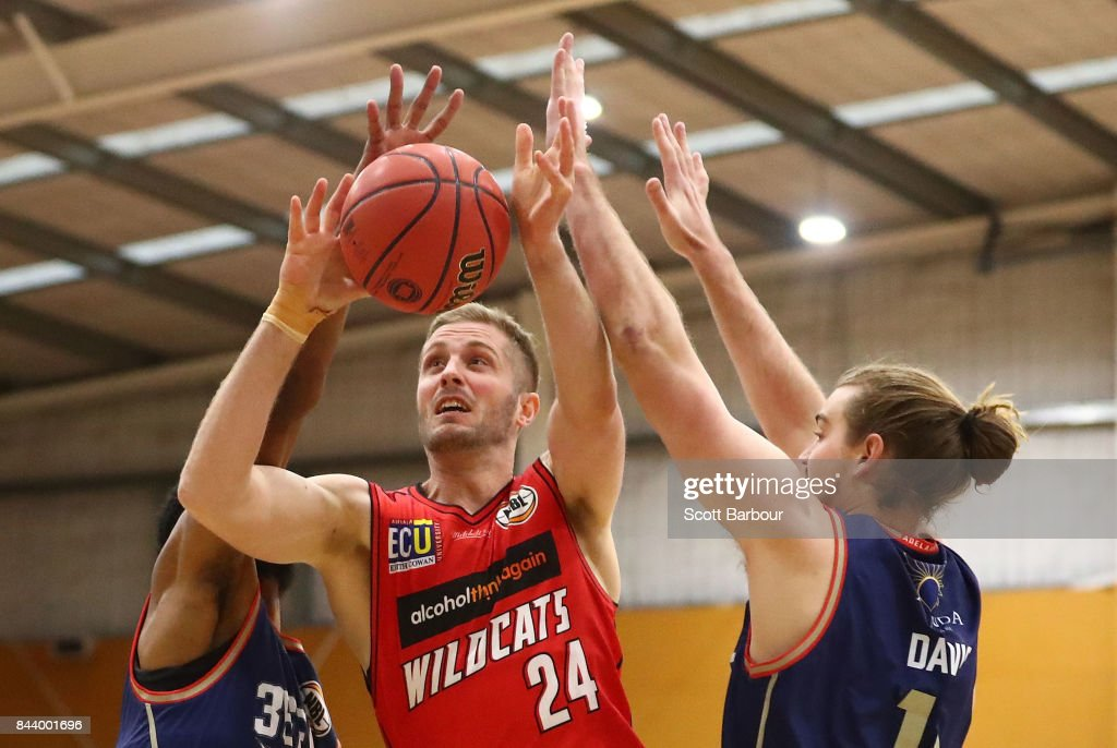 Jesse Wagstaff of the Perth Wildcats drives to the basket during the 2017 NBL Blitz pre-season match between the Perth Wildcats and the Adelaide 36ers at Traralgon Basketball Centre on September 8, 2017 in Traralgon, Australia.