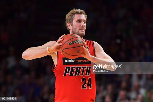 Jesse Wagstaff of the Perth Wildcats looks to pass the ball during the round 13 NBL match between the Adelaide 36ers and the Perth Wildcats at...