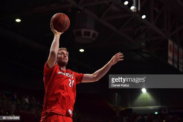 Jesse Wagstaff of the Perth Wildcats warms up prior to the round 13 NBL match between the Adelaide 36ers and the Perth Wildcats at Titanium Security...