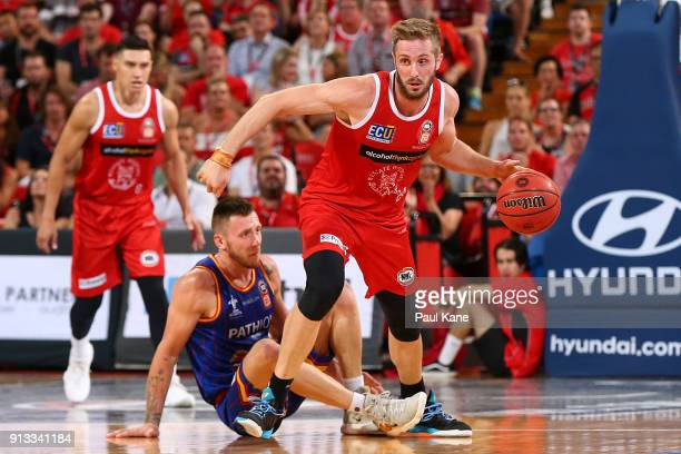 Jesse Wagstaff of the Wildcats brings the ball up the court during the round 17 NBL match between the Perth Wildcats and the Adelaide 36ers at Perth...