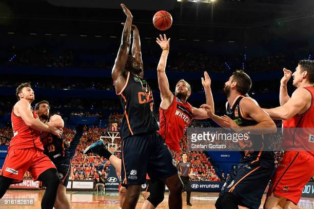 Jesse Wagstaff of the Wildcats contests the rebound during the round 18 NBL match between the Perth Wildcats and the Cairns Taipans at Perth Arena on...