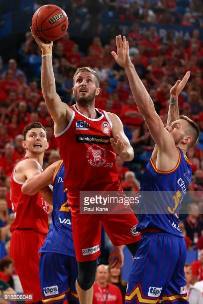 Jesse Wagstaff of the Wildcats goes to the basket during the round 17 NBL match between the Perth Wildcats and the Adelaide 36ers at Perth Arena on...
