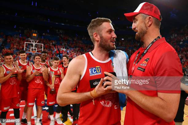 Jesse Wagstaff of the Wildcats is presented with the MVP medal by Paul Rogers after winning the round 17 NBL match between the Perth Wildcats and the...