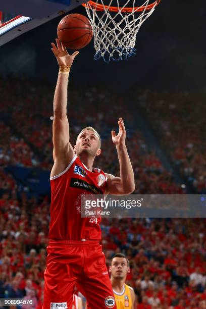 Jesse Wagstaff of the Wildcats lays up during the round 15 NBL match between the Perth Wildcats and the Sydney Kings at Perth Arena on January 19...