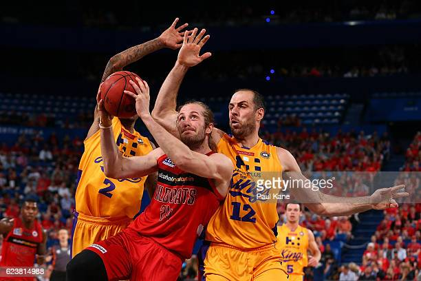 Jesse Wagstaff of the Wildcats laysup against Greg Whittington and Aleks Maric of the Kings of the Kings during the round seven NBL match between the...